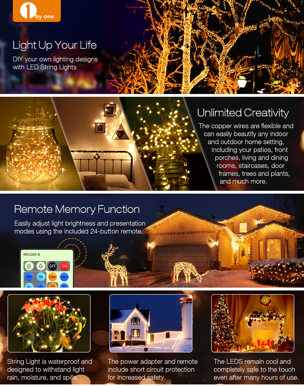 Led String Lights 60ft With 200 Leds 1byone Twinkle Wiring Up A Garden Light Copper Wire Wireless Ir Remote Control Decoration For Holiday Parties Wedding Patio Gate Yard