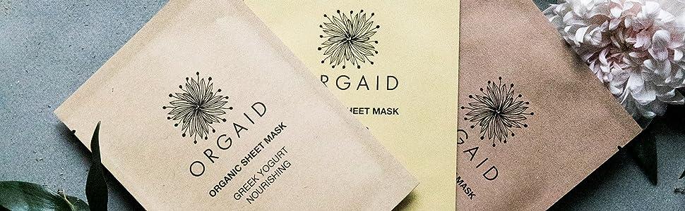 Orgaid, skincare, organic, sheet masks, sheet mask