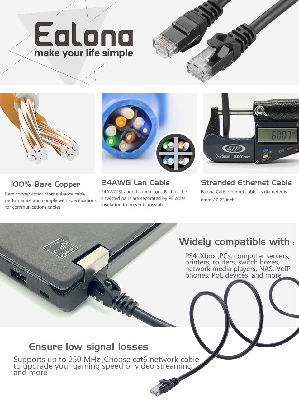 Cat 6 Ethernet Cable 20 Ft Black Higher Bandwidth Cat6 Wiring Ealona Utp
