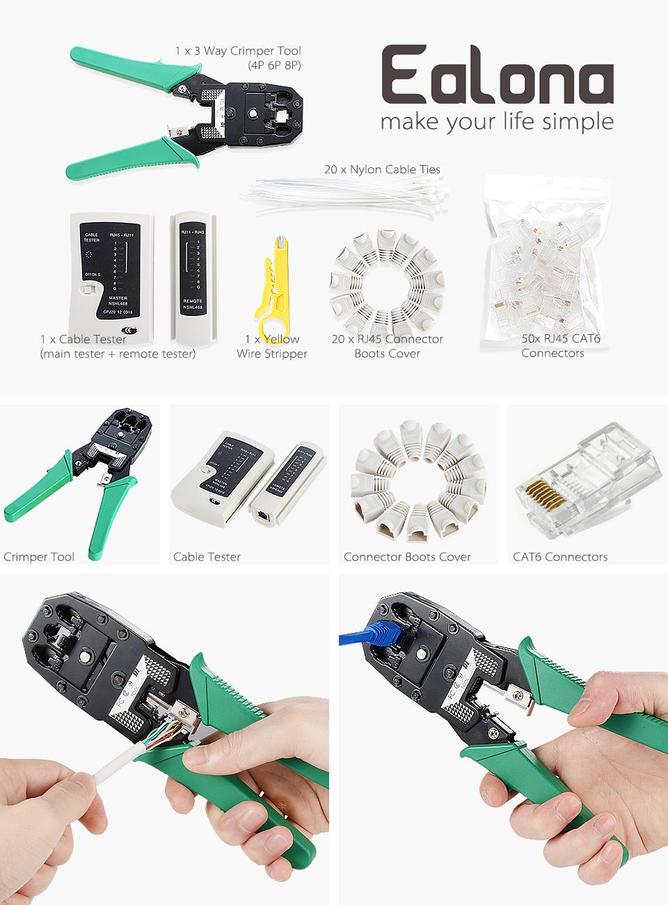 Bolsa de transporte I-CHOOSE LIMITED Network Tool Kit Conectores Ethernet RJ45 crimpadora Punch Down Cable Stripper /& Tester Tool