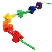 kids korner, lacing toys, lacing beads, stringing beads, montessori toys, rainbow matching game