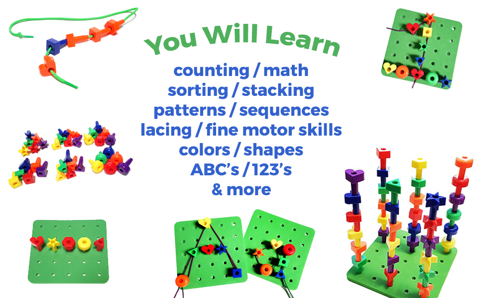 kids korner toys, occupational therapy, therapy toys, stacking toys, learning colors, lacing toys