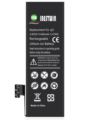 EMNT Bater/ía interna de repuesto para iPhone 5 1700 mAh, incluye kit e instrucciones de alta capacidad y bater/ía de pol/ímero de litio, recargable