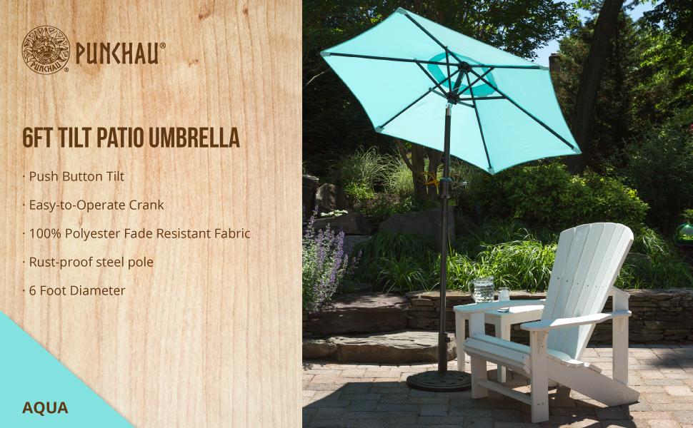 Punchau 6ft Patio Umbrella   Aqua