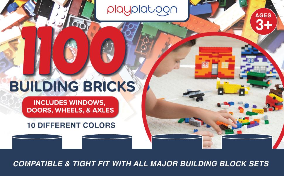 Play Platoon Building Bricks - 1120 Pieces - Windows, Wheels, Doors, Axles - Compatible Fit -Primary