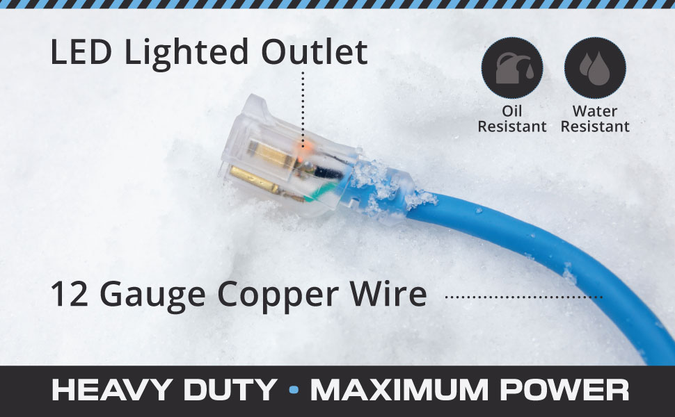 Iron Forge Cable - All Weather Extension Cord - Blue - Extreme Temperatures - 12/3 Gauge - 25ft
