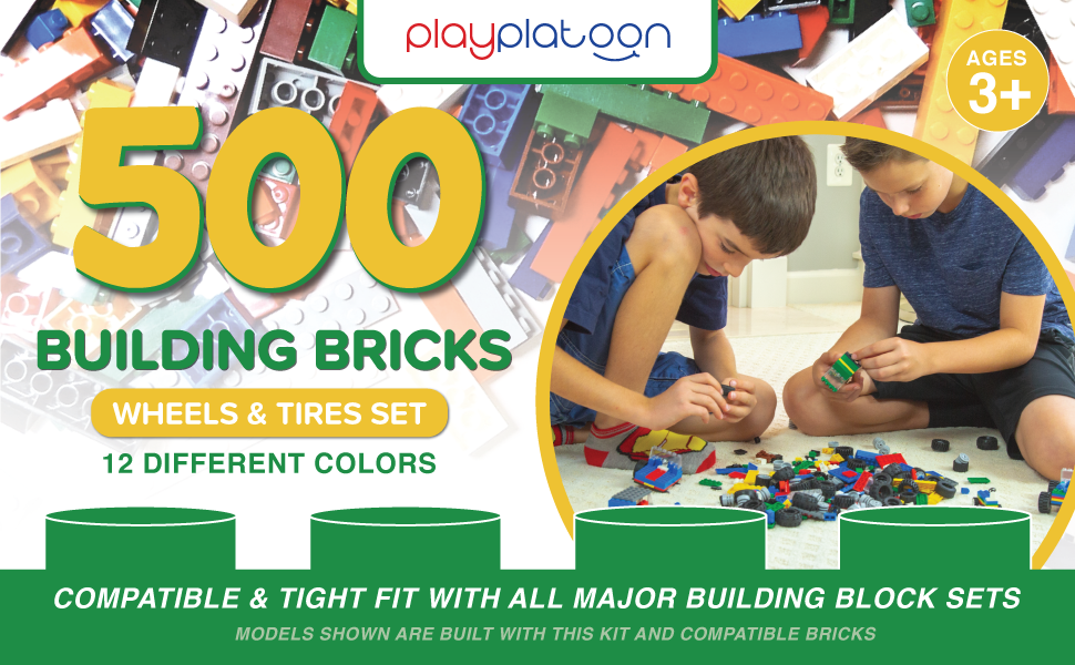 Play Platoon 500-Piece Building Bricks - Wheels and Tires Set - 12 Colors - Compatible