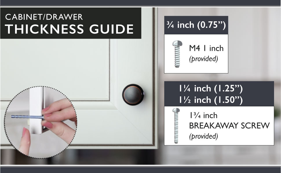 Ilyapa Cabinet Knobs - Round - Hardware - Thickness Guide - M4 1 inch Provided - Breakaway Screw
