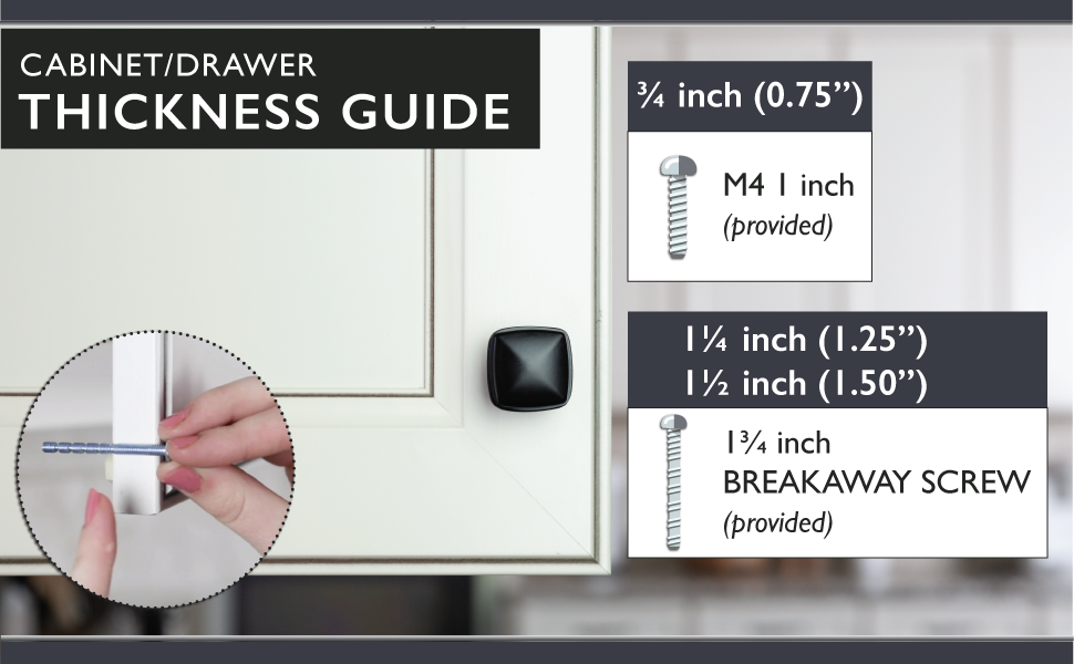 Ilyapa Cabinet Knobs - Square - Thickness Guide