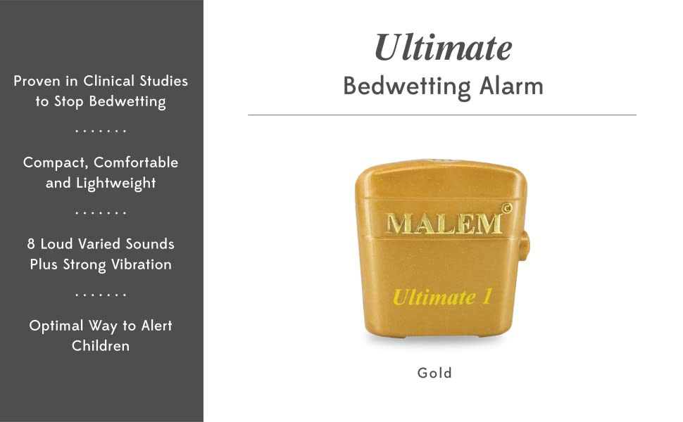 Malem Ultimate Bedwetting Enuresis Alarm with Vibration - Gold 8 Tone [Health and Beauty]