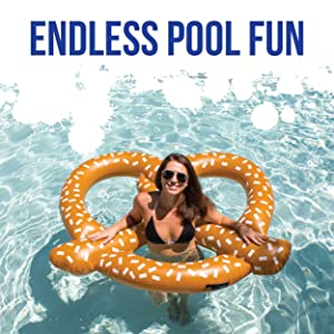Get Ready To Bring Your Pool Party To A Whole New Level With The Play  Platoon Giant Inflatable Pretzel Pool Float! The 5+ Foot Wide Floatie  Features A Cool ...
