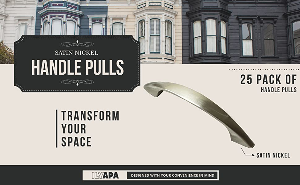 product description adds a look our satin nickel drawer handle pulls