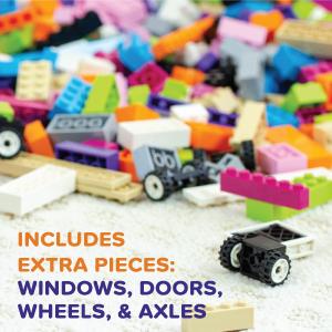 Play Platoon 1100 Building Bricks - Pastel - Windows, Doors, Wheels, Axles - Compatible Fit