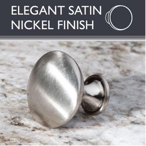 Ilyapa Round Cabinet Knob - Satin Nickel - Elegant Satin Nickel Finsih