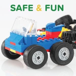 Play Platoon 500 Piece Building Bricks - Wheels and Tires Set - Safe