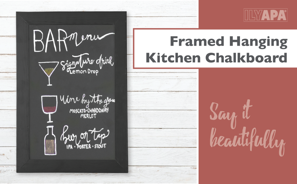 Rustic Wooden Magnetic Kitchen Chalkboard Sign - 10x14 Inch Black Framed  Hanging Chalk Board for Farmhouse Decor, Wedding, Restaurant & Home