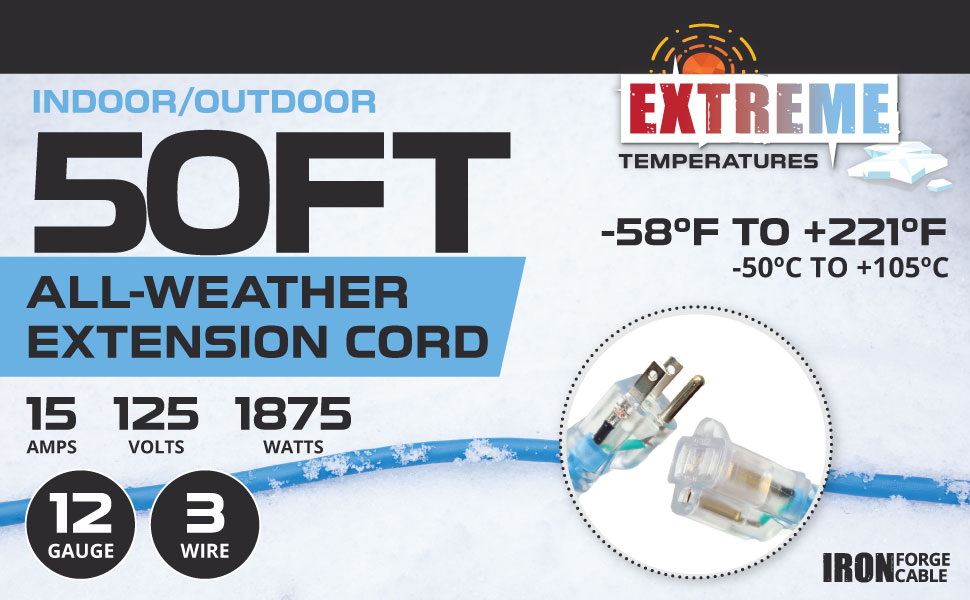 Iron Forge Cable - All Weather Cord - Blue - Extreme Temperatures - 12/3 Gauge
