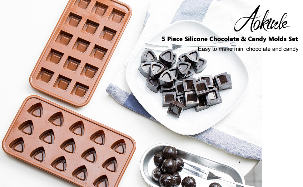 af78646be8043 Chocolate Molds, Candy Making Silicone Molds, Mini Baking Molds 5 Pack, Non  Stick Hard Gummy Candy,BPA Free Candy Making Mold
