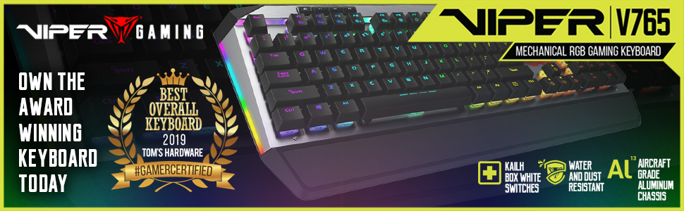 Viper Gaming Patriot V765 Mechanical RGB Gaming Keyboard Award Winning Kailh Box White Switches