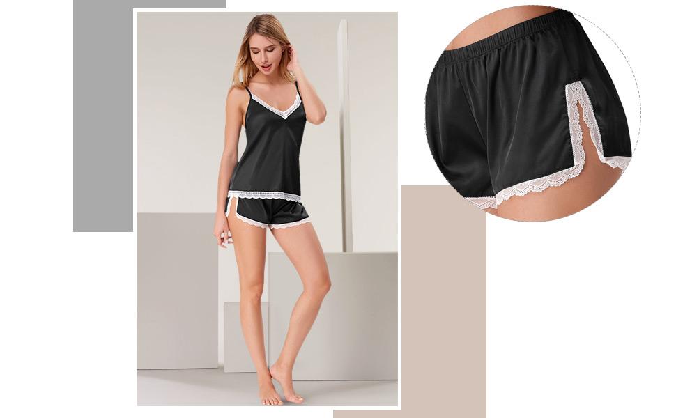Amazon.com  Zexxxy Women Silk Sleepwear Lingerie Satin Pajamas ... 4075fe9df
