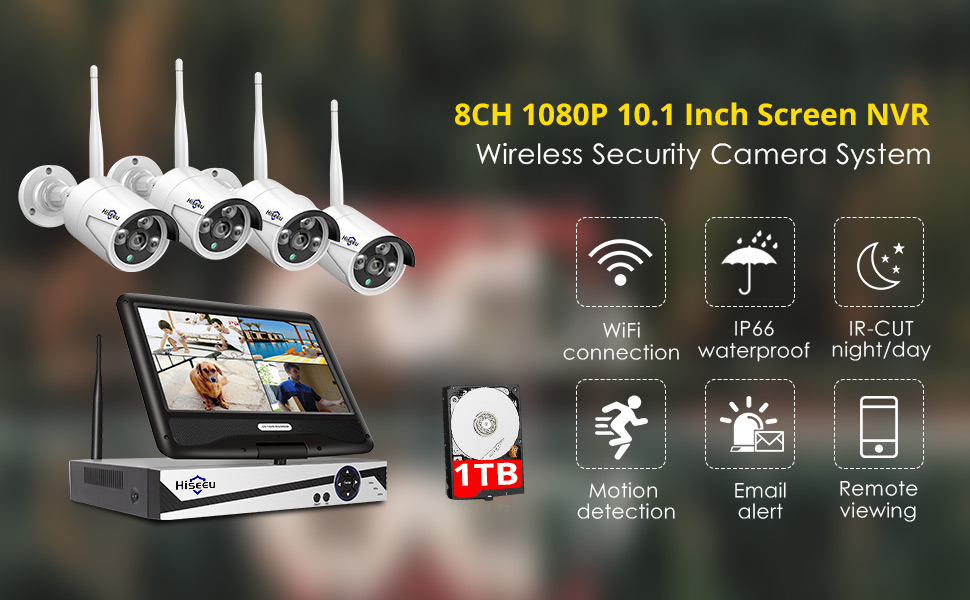 D  [8CH Expandable] Hiseeu All in one with 10.1″ Monitor Wireless Security Camera System,8ch Wireless Home Security Camera System,4pcs 1080P Indoor/Outdoor Security Camera,Remote View,1TB Hard Drive 026d7fbf 8468 4a5a 83f6 aa655157fe0b