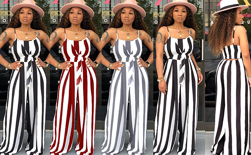 summer striped jumpsuit for women