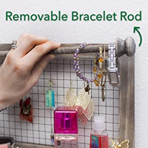 Removable Bracelet Rod for easy access to watches and bracelets Jewelry Organizer