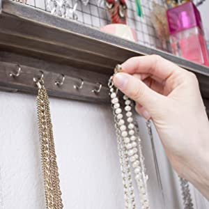 Jewelry Organizer hooks for easy necklace storage