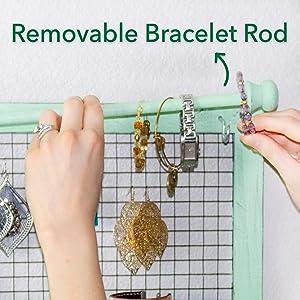 bracelet organizer rod Jewelry organizer - Green Shabby Chic from SoCal Buttercup