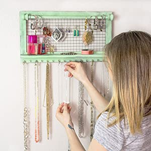 Green Jewelry Organizer for shabby chic decor from SoCal Buttercup