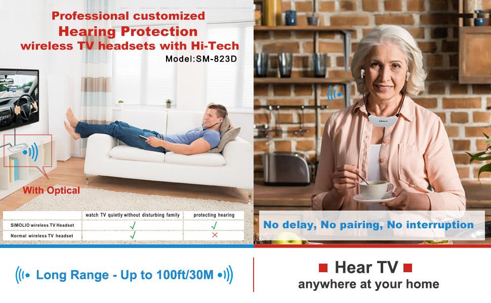 digital wireless tv headphone for seniors for hard of hearing