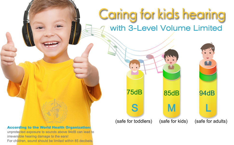 kids car headphone with volume limited