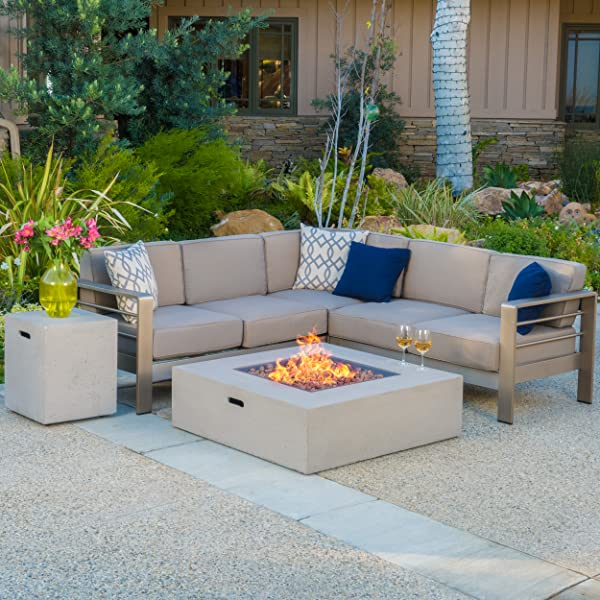 Christopher Knight Home 299880 Crested Bay Outdoor Aluminum Framed Sectional Sofa Set with Light Grey Fire Table, Khaki with White