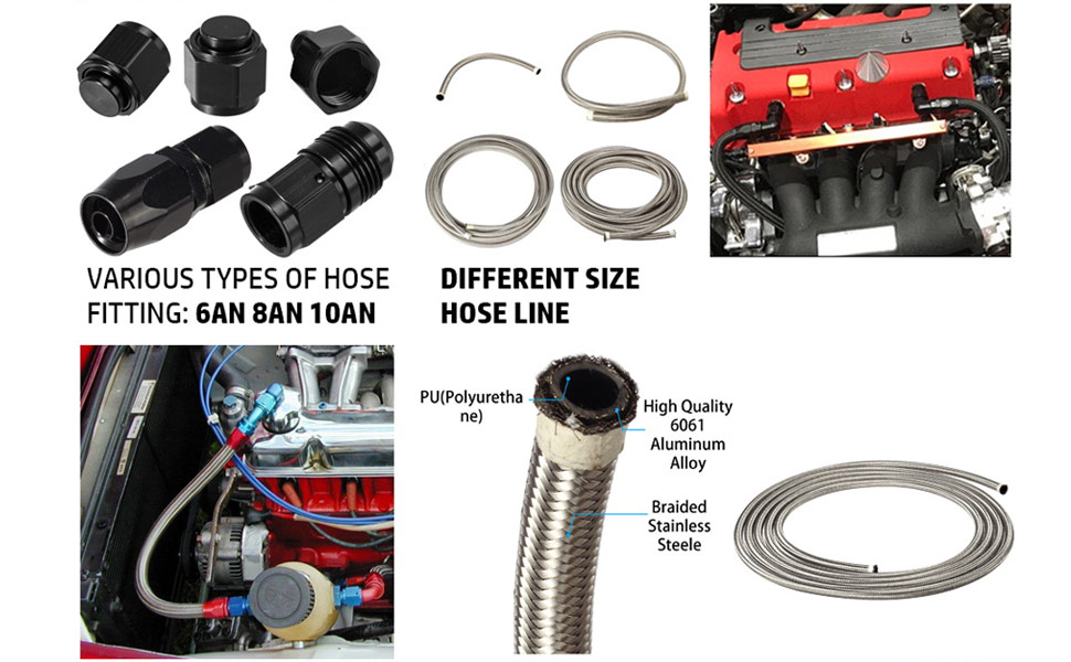 /& 45 AN-6 Fittings /& Filter U-Line-Kit-45 EFI Fuel Line Kit with Str Univ