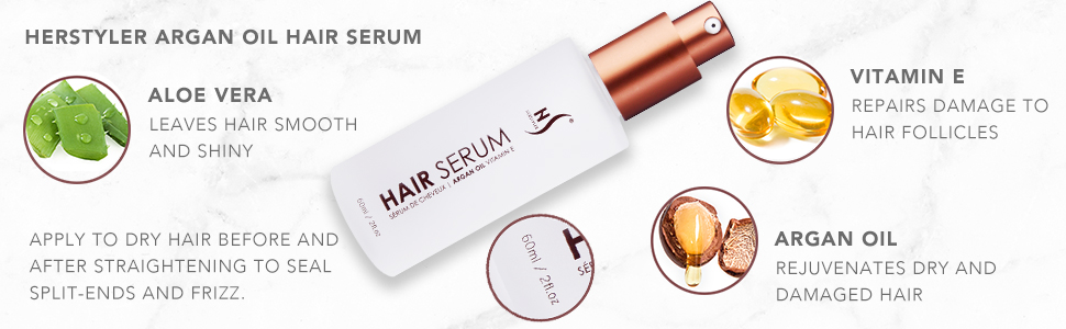 Herstyler Argan Oil Hair Serum Argan Oil Aloe Vera Vitamin E Hair Straightener Hair Moisturizer