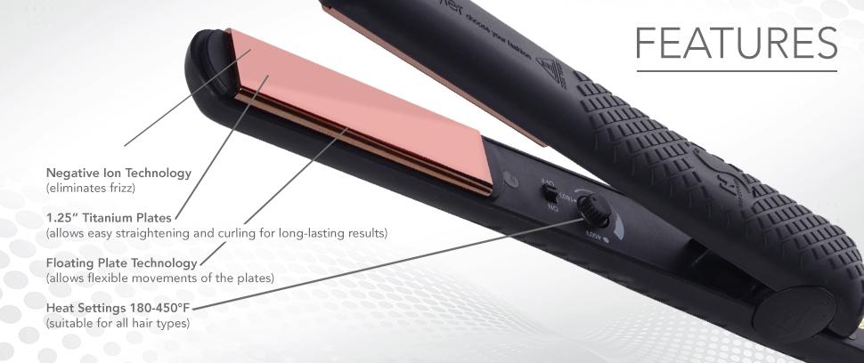 Herstyler Titanium Hair Straightener - 1 5 Inch Flat Iron With Rose Gold  Titanium Plates - Enticing Dual