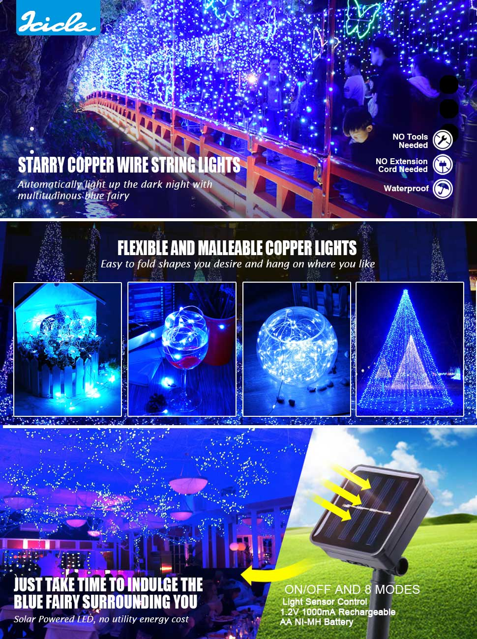 Icicle solar powered string light 26ft 120led flexible copper wire icicle solar powered string light 26ft 120led flexible copper wire indoor outdoor waterproof decorative light for patio path lawn garden pergola aloadofball Image collections