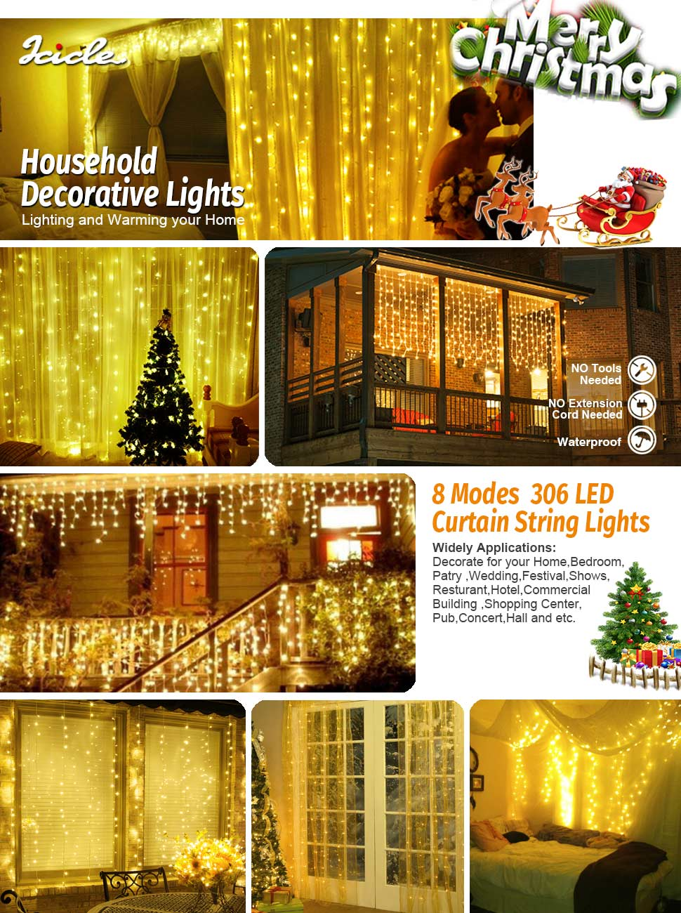 Icicle Curtain Lights, 8 Modes, 306 LED Cutest Fairy String Lights ...