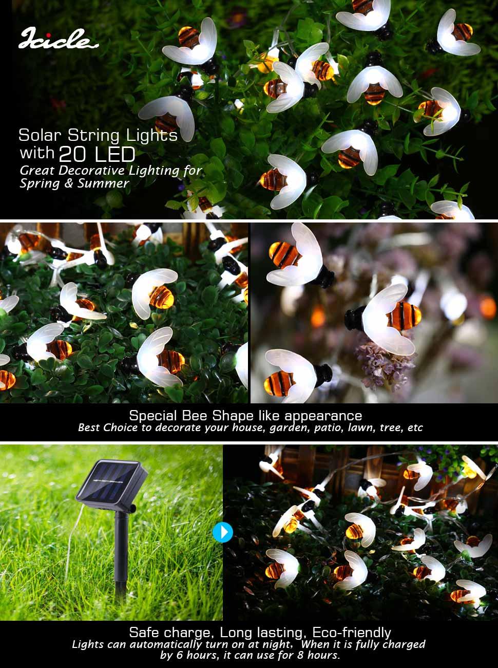 Amazon Com Joomer Bumble Bee 20 Led Solar String Lights