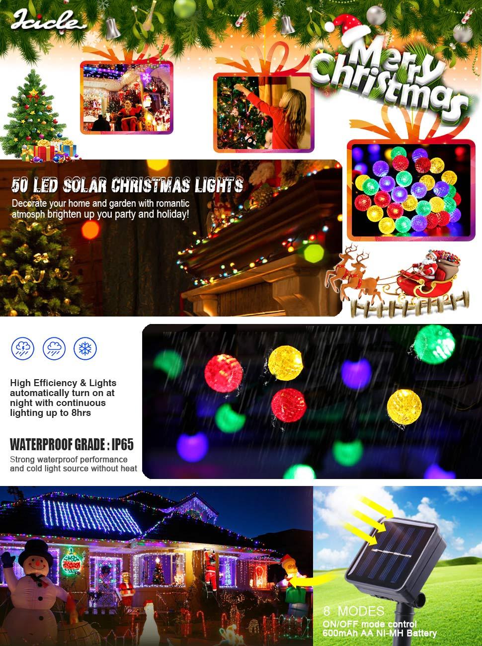 Amazon.com : Icicle Solar String Lights, 16.4FT 50 LED G14 Fairy ...