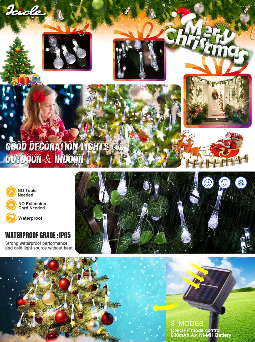 Amazon.com : Icicle Solar String Lights Outdoor, 19.2 Ft 8 Modes 30 ...