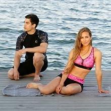 Aqua Design Big Wave Rash Guard Men Women Sports Bra Boy Shorts