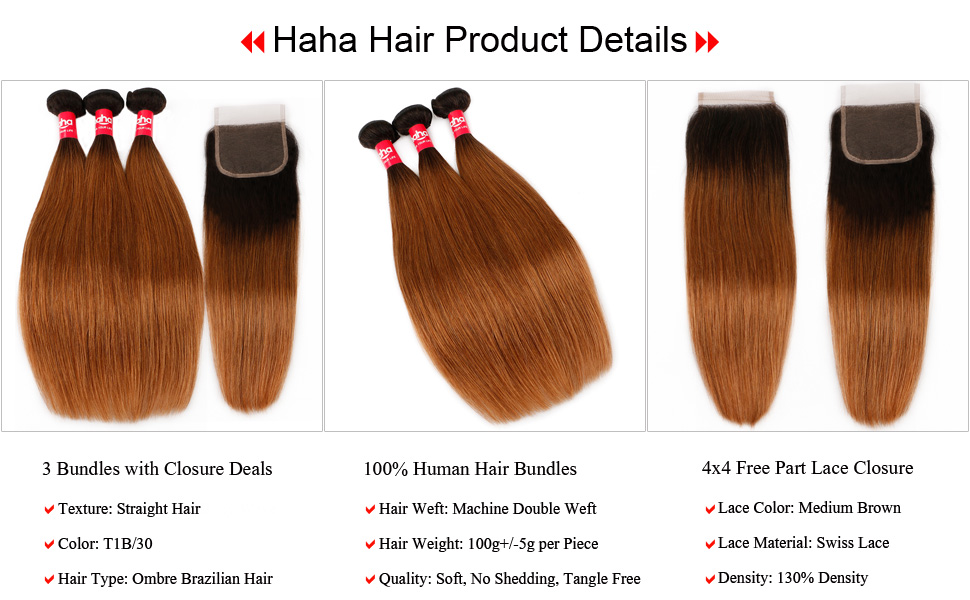 T1B/30 Ombre Brazilian Straight Hair Bundles with Closure Human Hair Ombre Bundles With Closure