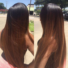 1B/30 Ombre Brazilian Straight Hair 3 Bundles with Closure Brown Ombre Human Hair Weave Bundles