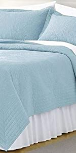 light blue bedspread