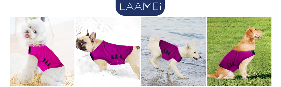 laamei Dog Anxiety Coat Warm and Windproof Vest Pet Mood Calm Clothes Soft Adjustable Dog Jacket Medium Rozy