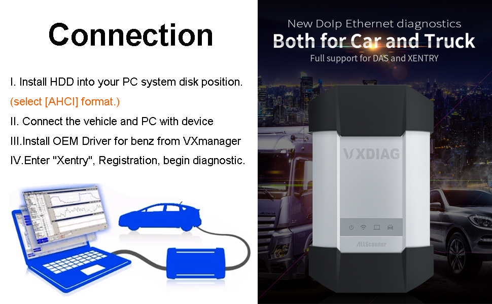 VXDIAG Car Diagnostic Tool Compatible with Benz for C6 Better Than SD for  C4 HDD with Software Code Scanner Reader Compatible with Mercedes