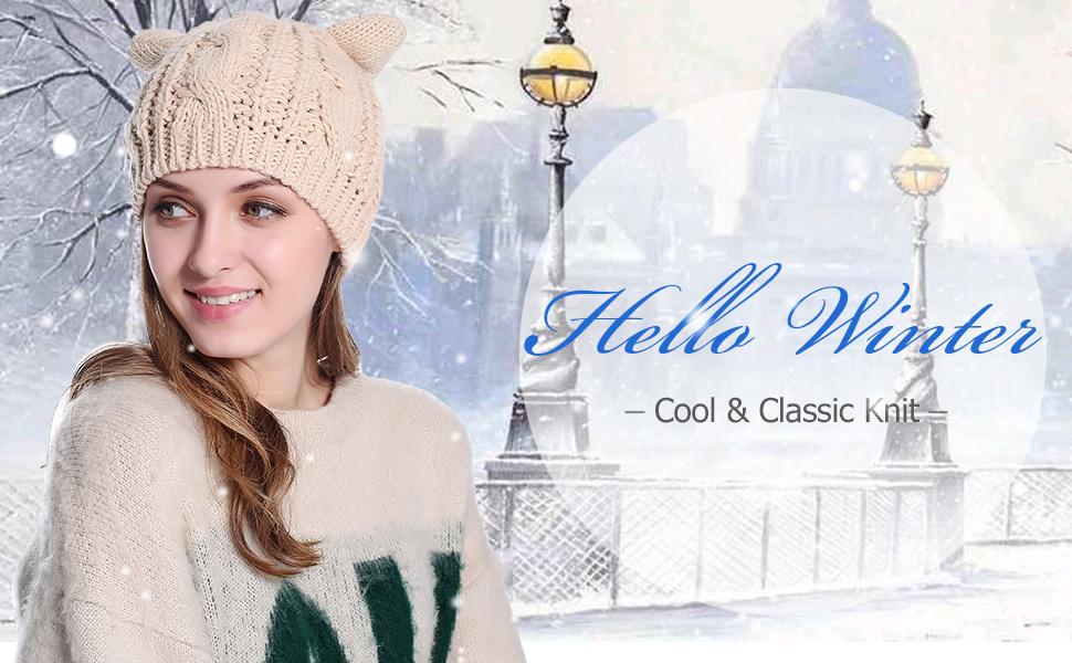 Girls Cute Ear Knitted Beanie Fashion Winter Warm Ski Hats Caps at ...