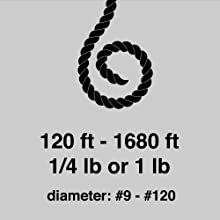 SGT KNOTS Black Tarred Twine Length and Width