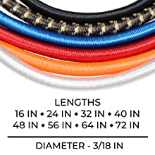 Marine Grade Bungee Cords with 2 Hooks Sizes and Colors
